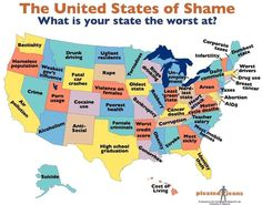 The United States of Shame - What each state is worst at.