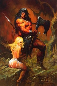 Fantasy Artist Ken Kelly paints warriors, monsters, kings and primal battlefields! Manowar Artist and painter of Kiss Destroyer and Love Gun! Dark Fantasy, Fantasy World, Fantasy Artwork, Comic Books Art, Comic Art, Conan Der Barbar, Conan The Destroyer, Savage Worlds, Frank Frazetta