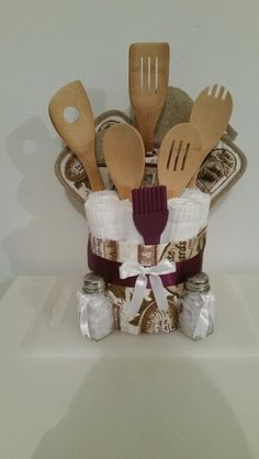Tan and Plum Towel Cake Housewarming Gift Wedding Gift All Occasion Gift Kitchen Utensils Bridal Shower Gift Kitchen Gift Baskets, Kitchen Towel Cakes, Home Decor Baskets, Diy Gift Baskets, Themed Gift Baskets, Raffle Baskets, Boyfriend Gift Basket, Boyfriend Gifts, Towel Crafts