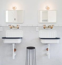 Meet the unsung hero of the fixtures world: the wall-mounted faucet. of all the decisions you need to make during a remodel, the location of the sink faucet Wall Mounted Bathroom Sinks, Wall Mount Faucet, Small Bathroom Storage, Bathroom Sink Faucets, Concrete Bathroom, Bathroom Organization, Bathroom Fixtures, Dyi Bathroom Remodel, Bathroom Renovations