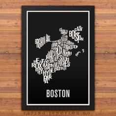 This typography map features 27 neighborhoods, outlining the city of Boston. Printed using archival inks on thick fine art (100% cotton rag) paper that has a natural white color and matte finish. Avai