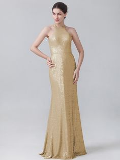 Pin to Win a Wedding Gown or 5 Bridesmaid Dresses! Simply pin your favorite dresses on www.forherandforhim.com to join the contest! | Halter Sequin Dress $204.99