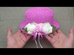 YouTube Knitting Videos, Crochet Videos, Crochet Hat For Women, Crochet Baby, Sombrero A Crochet, Kids Hats, Summer Hats, Stitch Design, Hat Making