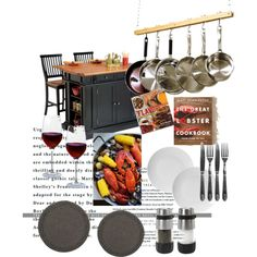 kitchen by elizabeth-b-a on Polyvore featuring polyvore interior interiors interior design home home decor interior decorating Home Styles Artland Flamant 1Wall Chronicle Books kitchen