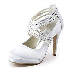 satin stilett häl pumpar med rhinestone bröllop skor (fler färger finns) - SEK Kr. 498