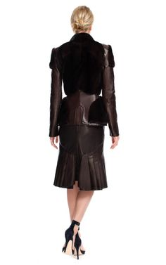 Espresso Mink & Leather Combo Jacket by Zac Posen Trumpet Skirt, Zac Posen, Espresso, Vintage Ladies, Skirts, Leather, Jackets, Clothes, Collection