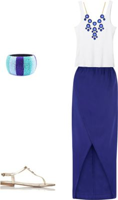 cobalt blue tulip skirt, white tank, blue bauble necklace, blue striped seed bead bangle, gold sandals