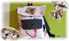 Katzen Rucksack für Erwachsene. Er ist 34cm x 29cm groß, hat gefütterte, verstellbare Träger & kann oben zugezogen und zusätzlich durch einen Kam Snap verschlossen werden.Vorne ist ein kleines Täschchen welches auch mit einen Kam Snap geschlossen werden kann.
