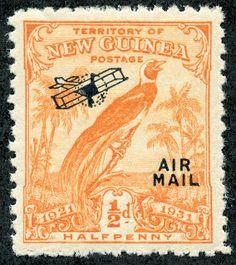 New Guinea  1931 Scott C14 1/2p orange Type of regular issue of 1931 overprinted