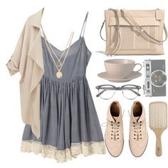 """""""Grey and beige"""" it'll mess with the whole grey and beige thing, but to add some color and make it a but more modest, add some burgundy jeggings?:)"""