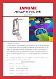 Free Motion Darning Foot - Accessory of the Month October 2017 - comes with a project to download: http://www.janome.com.au/wp-content/uploads/2017/09/Project-for-AOTM-October-2017.pdf