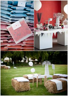 Great casual outdoor party set up (bottom picture)
