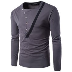 Sale 22% (18.32$) - Retro Personality Buttons Half-cardigan T-shirt Men\'s Fashion Casual Lapel Long Sleeved Tees