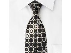Vigevano Silk Rhinestone Tie Silver Geometric Circles On Black With Silver Sparkles