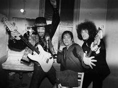 Jimi Hendrix with Eric Burdon and Noel Redding in 1968