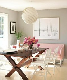 Love the pop of pink in this dining room. Would be best for our purposes with a different color - maybe a blue.