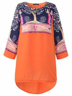 4b13b427f36 O-NEWE Folk Style Printed Long Sleeve O-Neck Chiffon Tops For Women can  cover your body well