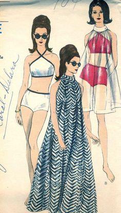 Vintage 60s Vogue 9788 CUT Misses Retro Beach Halter Bathing Suit with Sheer…