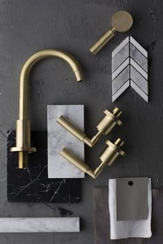 Master bath combo inspiration - Disregard the other finishes but these Astra Walker Taps could be carried through to the bathrooms too Mood Board Interior, Interior Design Boards, Bathroom Interior Design, Furniture Design, Material Board, Room Tiles, Concept Board, Bathroom Fixtures, Bathroom Hardware