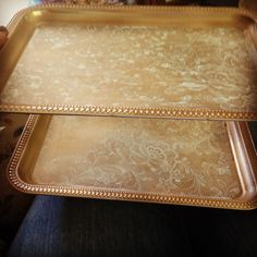 Dessert tray! Spray painted Dollar Store trays with lace contact paper.