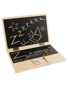 so funny! kids' wooden chalkboard laptop but I'd make it whiteboard instead, less mess and quiet