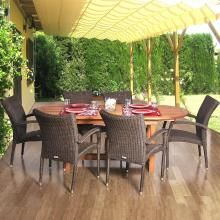 Amazonia Lemans Deluxe 6-Person Resin Wicker Patio Dining Set With Extension Table And Stacking Chairs