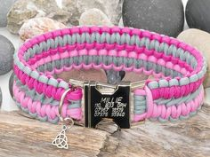 Personalised Silver Grey & Two Tone Pink Paracord Dog Collar, extremely strong and durable with an engraved metal buckle if you require. Matching lead available Diy Dog Collar, Pet Collars, Grey Dog, Vegan Animals, Collar Designs, Dogs Golden Retriever, Metal Buckles, Paracord, Cute Animals
