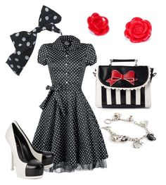 """""""Polka Dot Pinup"""" by bobby-trouble on Polyvore featuring Lola Ramona, Miss Selfridge and Yves Saint Laurent"""