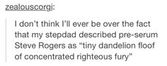 Literally the best description of pre-serum Steve ever. <- It's perfect #CapAmerica #SteveRogers #Dandelion