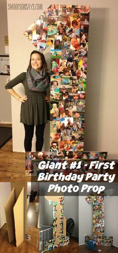 How to make a cheap first birthday party decoration from cardboard & photo prints! Easy, fast, and cheap. http://Swoodsonsays.com