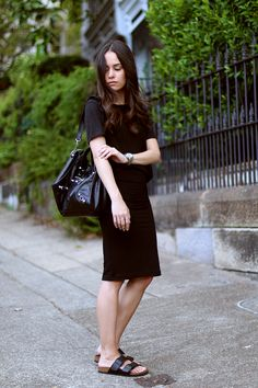All Black Outfit with a midi skirt, Birkenstock Arizona sandals and Balenciaga City Classic