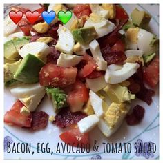 Serves 1 Container Equivalents (per serving): 1-2 Red, 1 Blue, 1 Green // Ingredients 1/4 medium avocado, chopped 1-2 boiled eggs, chopped 2-4 slices of turkey bacon, crumbled 1 medium sized tomato…