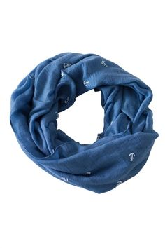 """Navy infinity scarf with raised white anchor print.    Measures: 28"""" x 36"""".   Anchor Infinity Scarf by Love of Fashion. Accessories - Scarves & Wraps Philadelphia, Pennsylvania"""