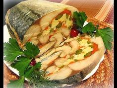 The original roll mackerel, stuffed with boiled eggs, carrots and pickled cucumbers. Fish Recipes, Seafood Recipes, Chicken Recipes, Cooking Recipes, Healthy Dishes, Healthy Eating, Healthy Recipes, Appetizer Salads, Russian Recipes