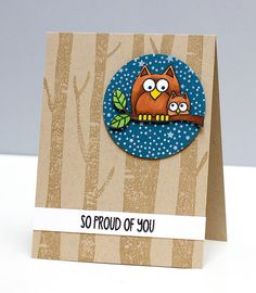card critters bird birds owl congratulations card ... adorable  Lil Hoot Owl image ... kraft base with birch tree truncks stamped in brown ... owl image colored, fussy cut and placed on a navy circle with little stars ... super cute!