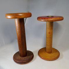 Antique Wood Spools great candleholders.  #vintage #antique #pin #home #homedecor #industrialdesign #vintageshop #vintagehome #duckwells #oldschool #candles #rustic #millspool