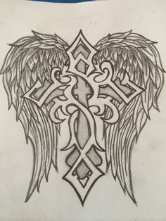 Drew this for my boyfriend to welcome him home, he loved it and said he might get it tattooed!!! Cross drawing angel wings cross with wings