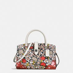 COACH mercer satchel 24 in multi floral print polished pebble leather. #coach #bags #shoulder bags #hand bags #leather #satchel #lining #