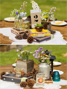 """We have some pinecones to use like this, also love the """"handpicked"""" feel of the flowers!"""