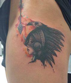 Native American Tattoo. Headress. Watercolor tattoo. Arrow tattoo.