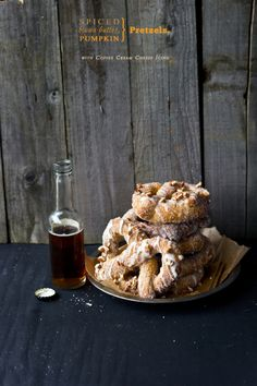 Spiced, Brown Butter Pumpkin Pretzels with Coffee Cream Cheese Icing