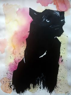 Black panther on watercolor background