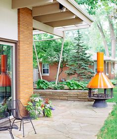After restoring her Malm carousel fireplace, Aletha set it up outside—making outdoor entertaining possible throughout more of the year and eliminating concerns about venting and fittings. Photo courtesy of Aletha VanderMaas.