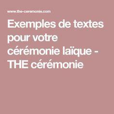 Exemples de textes pour votre cérémonie laïque - THE cérémonie