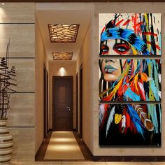 3Pcs Modern Abstract Canvas Painting Frameless Wall Art Indian Woman Bedroom Living Room Home Decor - Newchic Mobile.