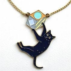 Fashion Japan Cut Enamel Black Cat Pendant Necklace For Womens Jewelry Geometric Gold Color Delicate Clavicle Chains Darker Necklace Box, Necklace Price, Necklace Types, Pendant Necklace, Necklace Online, Cute Black Cats, Color Dorado, Cat Jewelry, Animal Jewelry