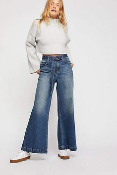 We The Free Ringer Denim Wide Leg Jeans Affiliate Simple Outfits, Casual Outfits, Cute Outfits, Fashion Outfits, Fashionable Outfits, Jean Outfits, Women's Fashion, Free People Skirt, Free People Jeans