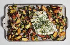 HALIBUT WITH POTATOES AND SPROUTS http://www.womenshealthmag.com/food/sheet-pan-dinner-recipe/slide/2