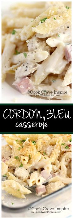 Pasta This delicious creamy Cordon Bleu casserole is loaded with chicken, ham & swiss! It's really easy to make from scratch, no canned soup required! Pasta Dishes, Food Dishes, Main Dishes, Chicken Ham, Chicken Recipes, Swiss Chicken, Chicken Cordon, Chicken Ideas, Rotisserie Chicken