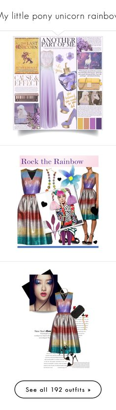 """""""My little pony unicorn rainbow"""" by yours-styling-best-friend ❤ liked on Polyvore featuring Pink, unicorns, rainbow, pony, Chanel, Lolita Lempicka, Charlotte Olympia, Christopher Kane, WALL and Ghibli"""